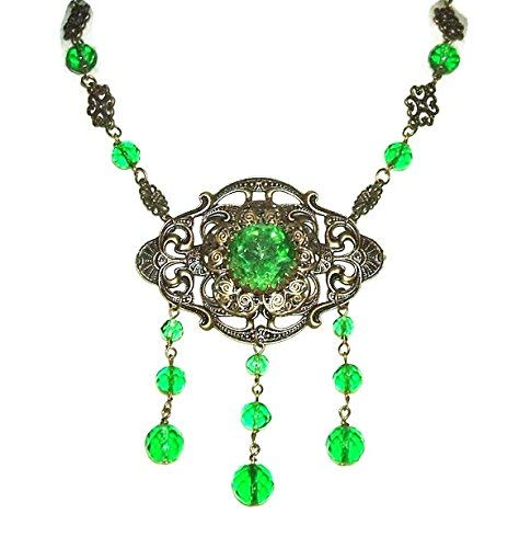 GREEN CZECH GLASS NECKLACE Art Deco Sautoir Crystal Beaded Drops Victorian Inspired