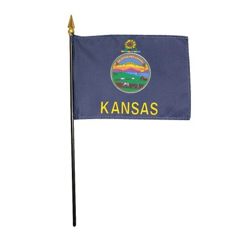 Kansas 1961 State Hand Held Desk Table Top Polyester Flag 4'' X 6'' on 10'' Black Plastic Staff with Gold Spear Tip (12 Pack) by EMPIRE