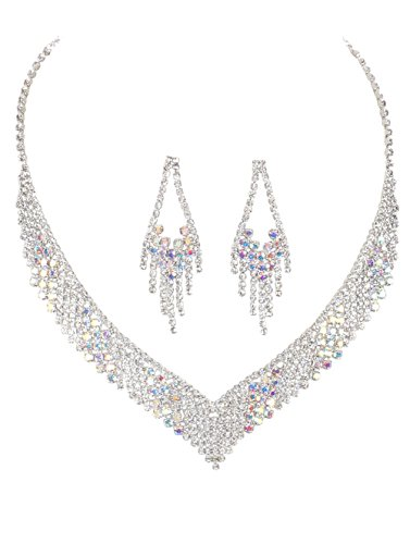 - Crystal Avenue Deco Look Clear & Aurora Borealis V Neck Shaped Rhinestone Dangle Fringe Bib Necklace 14