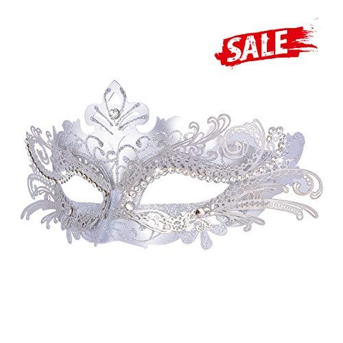 Venetian Silver Masquerade Mask - Hoshin Masquerade Mask, Mardi Gras Deecorations Venetian Masks for Womens (Sliver)