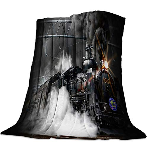 Verchant Steam Train Flannel Plush Throw Blanket Ultra-Plush Comfort Soft Blanket Decorative for Home Couch Office Outdoor Or Travel Use 49