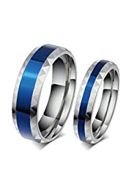 ROWAG Romantic Blue Plated 6MM Mens Titanium Stainless Steel Couple Rings for Him and Her 4MM Womens Wedding Promise Engagement Bands