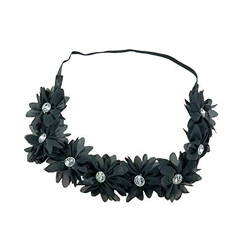 (Art Attack Black Braided Chiffon Crystal Stone Floral Flower Goth Halloween Crown Stretch Festival)