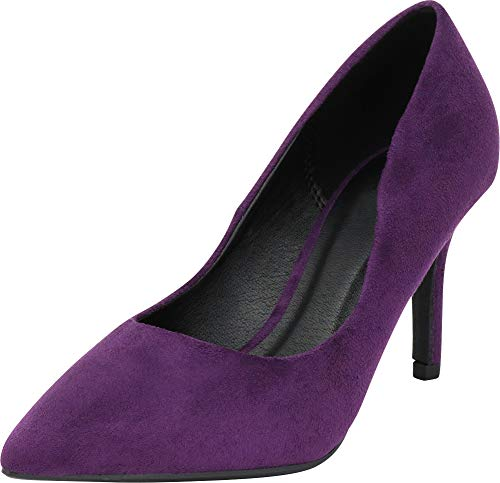Cambridge Select Women's Classic Pointed Toe Stiletto Mid Heel Pump,6 B(M) US,Deep Purple IMSU ()