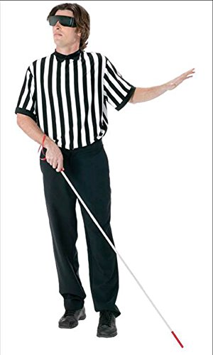 Halloween Costume Referee (FunWorld Men's  Blind Referee Kit, Black, One Size)