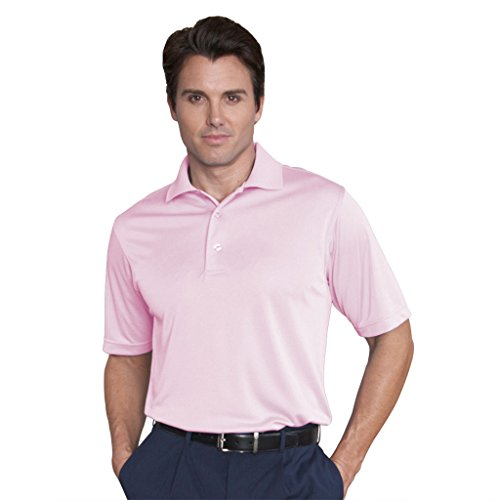 Monterey Club Mens Dry Swing Mini Stripe Texture Shirt #1087 (Pink, Large)