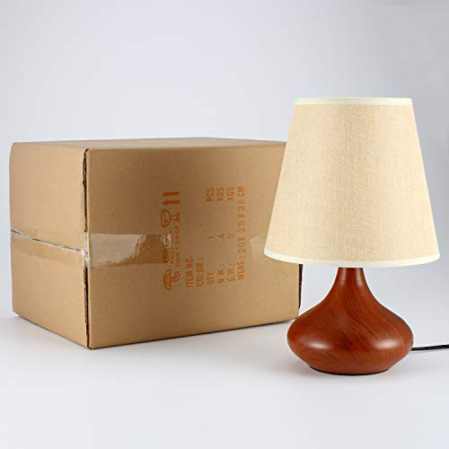 Rustic Bedside Table Lamp, DengMall Wood Grain End Table Lamp & Side Desk Lamp, White Fabric Shade and Brown Metal Base, Perfect for Bedroom Nightstand, Living Room, Office, Dorm by DengMall (Image #8)