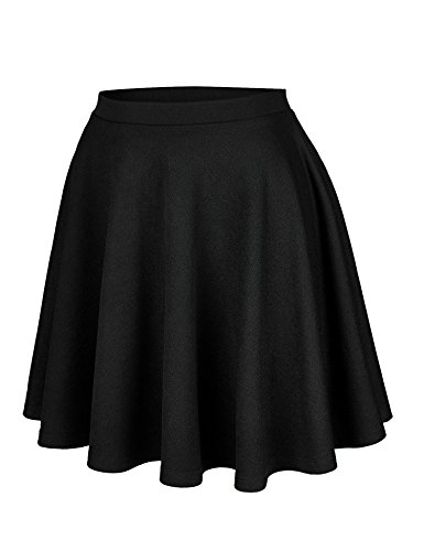 Lock and Love WB1580 Womens Verstaile Stretchy Flared Casual Skater Skirt - Made in USA L Black by Lock and Love (Image #1)
