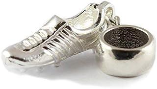 Sterling Argento Scarpa da Calcio Dangle Bead Charm per braccialetti con ciondoli in stile europeo Charm School UK 4749D