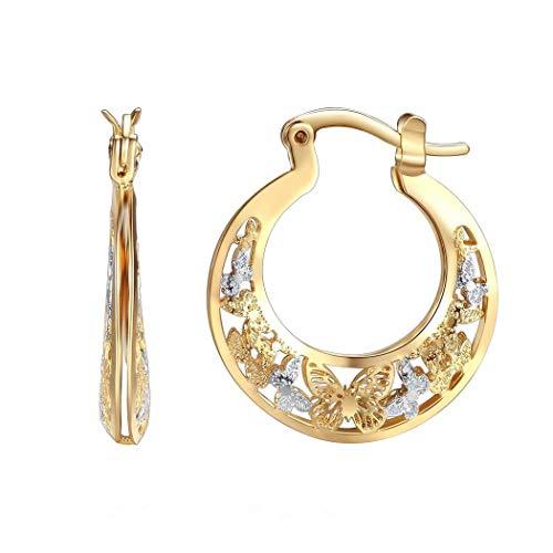 Orangelove 18K Gold Plated Women's Two-Tone Butterfly Hoop-Earrings Wedding Enagement Party Birthday Gift (Butterfly Hoop Earrings 25mm) 18k Two Tone Earrings