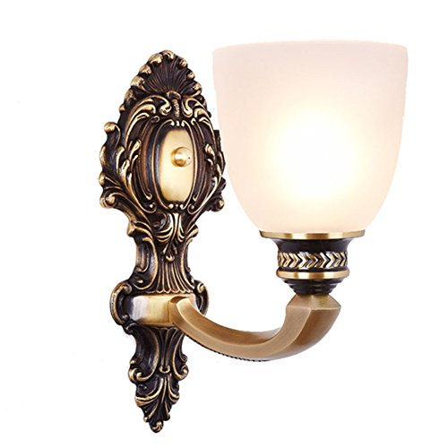 NOXARTE Brass Material Body Wall Mounted Light Industrial Vintage Wall Light Milky White Glass Lampshade Brass Wall Sconce Wall Lamp Lighting Fixture for Bedroom Hallway Living Room (1 Light)