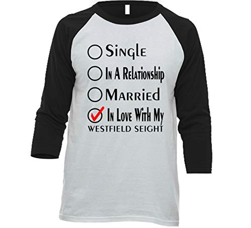 (Single Taken in Love with My Westfield Seight Car Lover Enthusiast Baseball Raglan Shirt S White/Black)