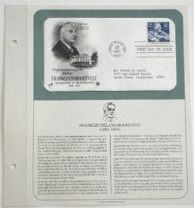 Franklin D. Roosevelt Official First Day Of Issue Stamp