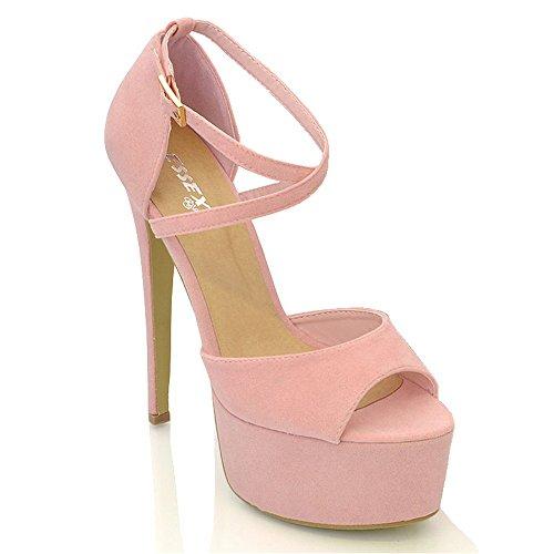 ESSEX GLAM Womens Strappy Ankle Strap Pastel Pink Faux Suede High Heel Platform Sandals 7 B(M) (Prom Platform Sandals)