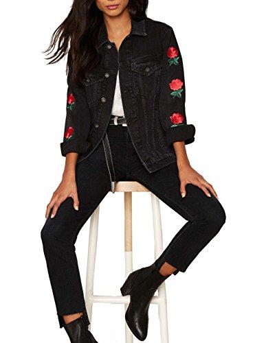 Richlulu Womens Floral Embroidery Casual Blazer Denim Jacket Wind Coat(XL,Black) (Denim Jackets Wholesale)