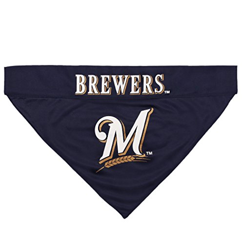 Image of Pets First BRW-3217-L-XL MLB Milwaukee Brewers Reversible Pet Bandana, Large/X-Large, MLB Team Color