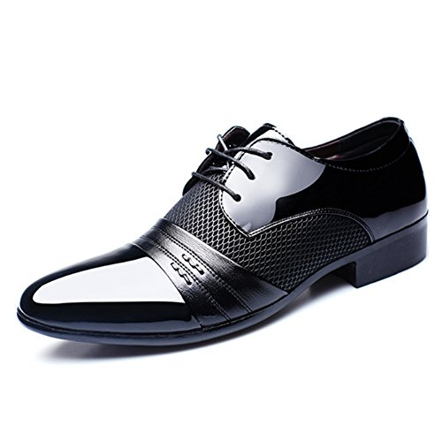 Seakee Men's Classic Breathable Oxford Lace-up Tuxedo Dress Shoes Black US 9 (Formal Tuxedo Shoes)