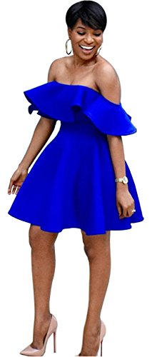 Short Sleeve Off The Shoulder Ruffled Ruffle Hem Empire Waist Highwaist Mini Pleated A-Line Dress Blue L
