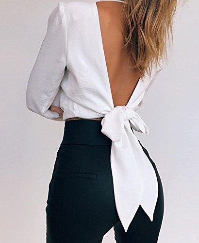 Longues Crop Shirts Fashion Tops Col Chemisiers Automne Dos Unie Couleur Monika Nu Top avec Blanc Bandage Femme V Printemps Haut Blouses T Manches et Sexy xwq4PC