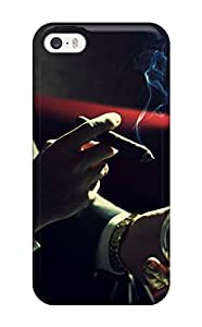 Rugged Skin Case Cover For Iphone 5/5s- Eco-friendly Packaging(man Smoking Cigar And Drinking Cognac)