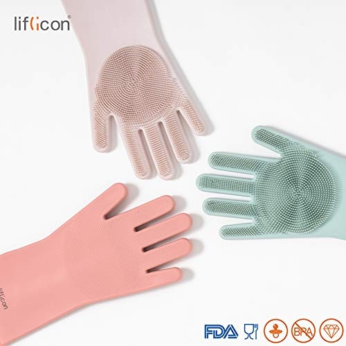 Household,Dish Washing,Car Washing,Pet Hair Care Perfect as Oven Gloves-Ivory White Liflicon Magic Silicone Gloves Multifunctional with Wash Scrubber Reusable Brush Silicone Scrubber for Cleaning