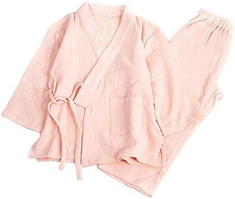 Mornyray 子供服 甚平 ルームウェア ジュニア シンプル 上下セット コットン 男の子 女の子 size 130 (オレンジピンク)