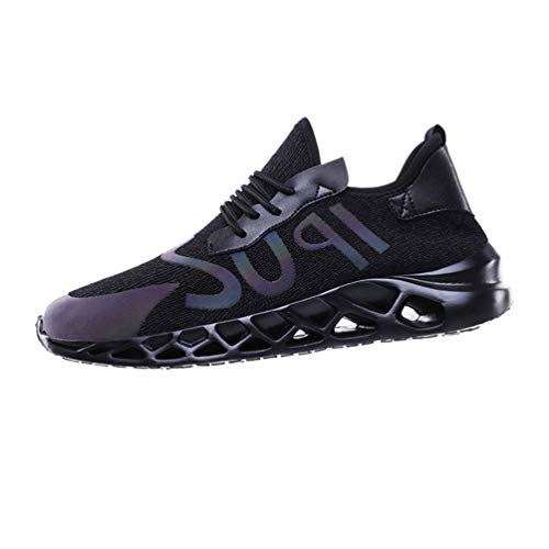 (iHPH7 Shoe Casual Comfort Training Fashion Running Sports Breathable Sneakers Mesh Walk Footwear Casual Shoes Mens (40,Black) )