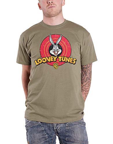 Looney Tunes T Shirt Distressed Logo Bugs Bunny Official Mens Khaki Size XXL