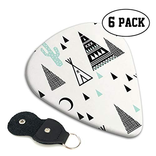 BLDBZQ Teepee Cactus Triangle Hipster Celluloid Guitar Picks Premium Picks 6 Pack for Guitar,Mandolin,and Bass 0.46mm, 0.71mm, 0.96mm Optional with PU Leather Pick Holder