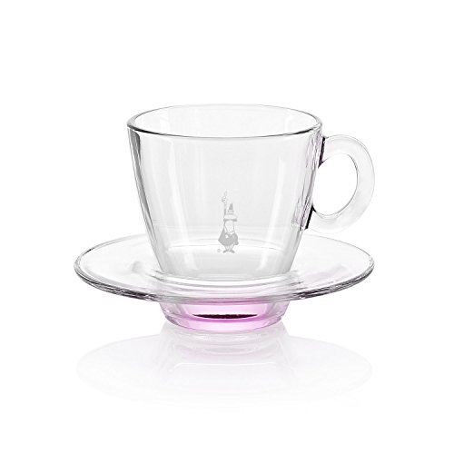 Bialetti Radiance Glass Cappuccino Cup with Saucer, 6-Oun...