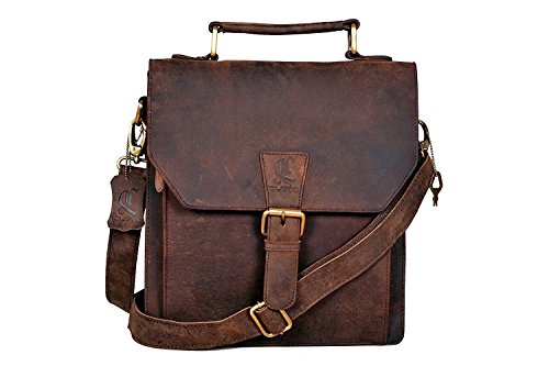 ClassyDesigns Leather Messenger Satchel Laptop Messenger Bag Leather Briefcase Shoulder Men's Bag Leather Laptop Bag for Men and Women's