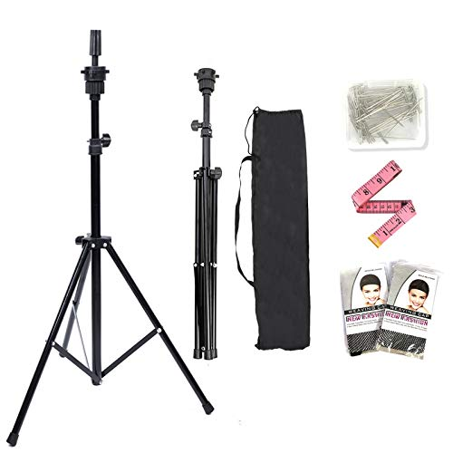 Lihui Wig Stand Sturdy Wig Stand Tripod Mannequin Head Stand Wig Head Stand Adjustable Wig Tripod for Wigs Making Styling and Cosmetology Hairdressing Training