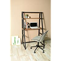 Vintage Brown Finish Computer Writing Study Ladder Desk with Shelves Modern Vintage Home Office