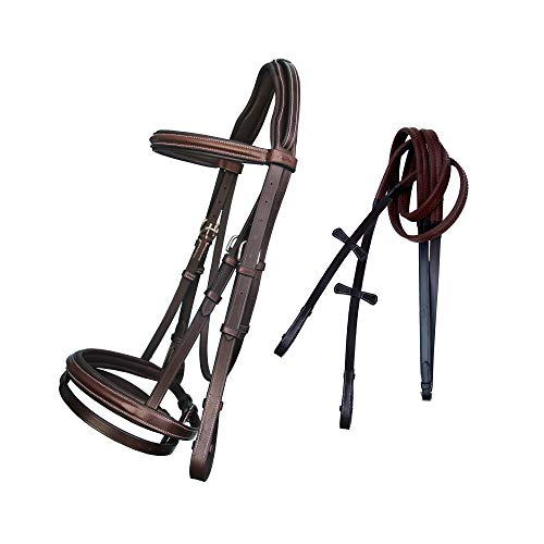 ExionPro Pressure Relife Crown Piece Round Raised Soft Padded Browband and Noseband with Rubber Reins  Royal Bridle for Real Horses  English Leather Bridle