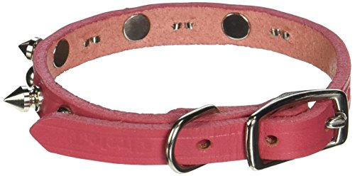 Coastal Pet Products DCP1703K10PK Leather Circle T Oak Tanned Embellished and Spiked Dog Collar, 10 by 3/8-Inch, Pink
