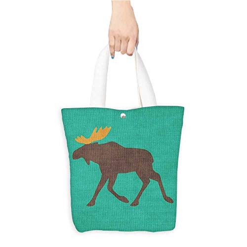 Personalized Pattern Custom Shopping Bag Moose Decor Moose with Antlers Illustration Deer Family Cute Creature Artisan Design Turuquoise Brown (W15.75 x L17.71 Inch) (Partridge Bag Shopping Family)