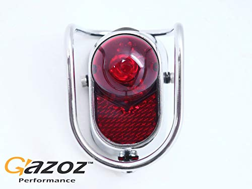 (GAZOZ PERFORMANCE Bicycle Rear LED Tail Lights - Chrome Old School Vintage Classic Tour)
