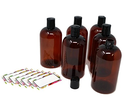 BAIRE BOTTLES - 16 OZ BROWN AMBER PLASTIC REFILLABLE BOTTLES with BLACK HAND-PRESS FLIP DISC CAPS - ORGANIZE Soap, Shampoo, Lotion with a Clean Look - PET, BPA Free - 6 Pack, BONUS 6 FLORAL LABELS Alpha Base Caps