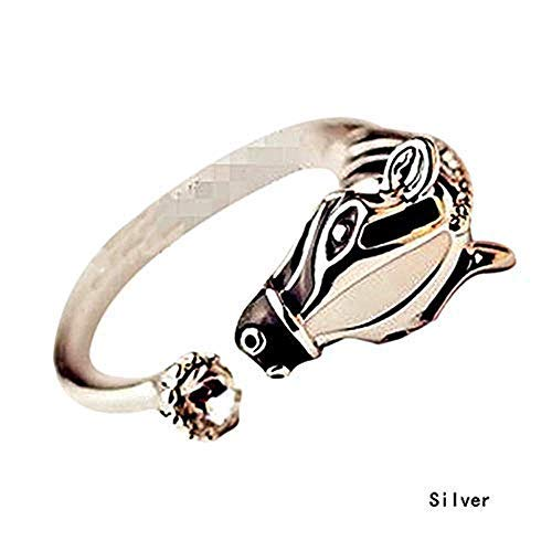 Nice1159 Zebra Animal Ring Horse Head-Adjustable -Add Charm Ring Silver New (Only 10 pcs Left)