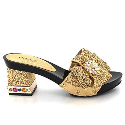 Taille Chaussures Dames Or De Strass Glisser Des Ouvert Bal Milieu forme Mariage Sandales Fête Décoré Bout Femmes Mariée Prom Soir Talon Plate Bloc Sur wB1Swq