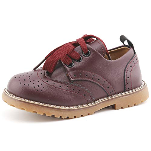 CCTWINS KIDS Toddler Little Kid Girl Boy Dress Oxford Leather Shoe(G9771-purple-25) (Toddler Boy Shoes Dress)