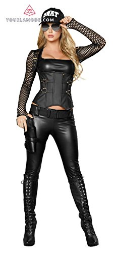 Swat Outfit (Roma Costume Five piece Sexy SWAT Agent Bundle with Pink Shorts)