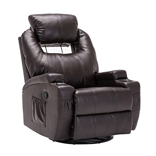 SUNCOO Massage Recliner Bonded Leather Chair Ergonomic Lounge Heated Sofa with Cup Holder 360 Degree Swivel Manual Recliner-Brown-11 in 1 - Massage Leather