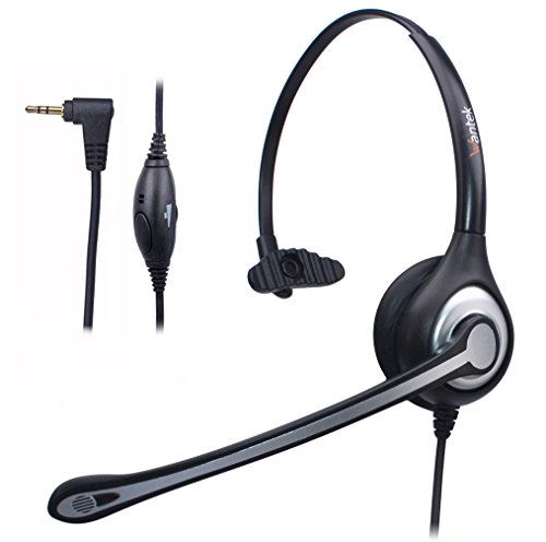 Micro Innovations Lightweight Headset (Wantek 2.5mm Telephone Headset Monaural with Noise Canceling Mic for Cisco Linksys SPA Grandstream Polycom Panasonic Zultys Siemens Gigaset Uniden AT&T Office IP and Cordless Dect Phones(F600J25))