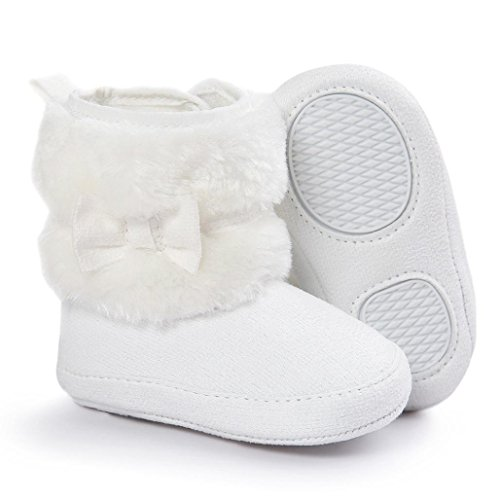 Baby Mädchen Stiefel Winter OVERMAL Mädchen Jungen Warm Schuhe Rutschfest Weiche Bowknot Schuhe für Neugeborene Weiß