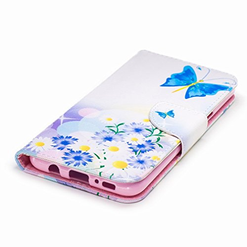 Yiizy Samsung Galaxy S8+(S8 Plus) Funda, Blue Butterfly Diseño Solapa Flip Billetera Carcasa Tapa Estuches Premium PU Cuero Cover Cáscara Bumper Protector Slim Piel Shell Case Stand Ranura para Tarjet