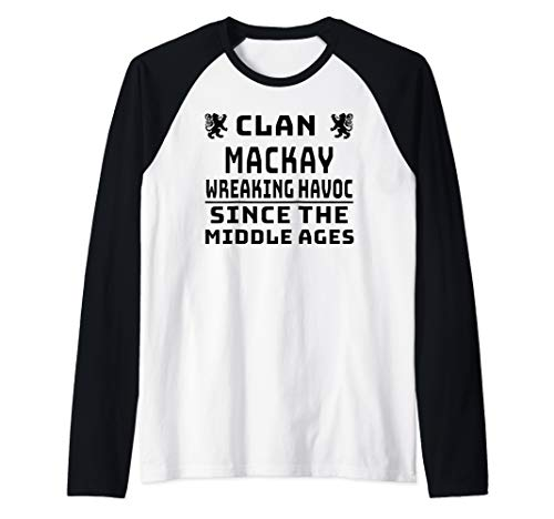 MacKay Scottish clan Family Kilt Tartan Lion Raglan Baseball Tee
