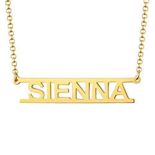 - MissNity Sterling Silver Bar Name Necklace Customized 14K Gold Plating Cut Out Design for Girls Personalized Pendant Jewelry Birthday Gift for Her (Golden)