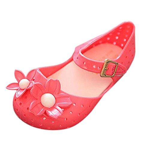 Hzjundasi Baby M?dchen Niedlich Blumen Atmungsaktiv Mode Anti-Rutsch Weich Gelee Flache Schuhe Kinder Kleinkind Strand Sandalen Regen Stiefel Rot