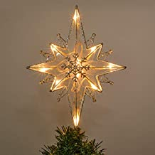Valery Madelyn 13.5 Inch Pre-Lit Frozen Winter Silver White Christmas Tree Topper, Metal Tree Top Star with 10 Warm LED Lights, Battery Operated (Not Included)